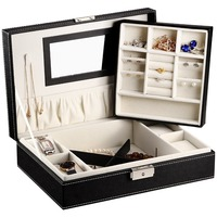 Black Leather Jewelry Box Display Tray Organizer Storage Case with Lock & Mirror