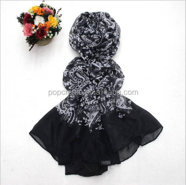 2015 new fashion printing voile scarf