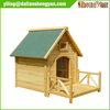 Outside cheap wooden dog house with porch