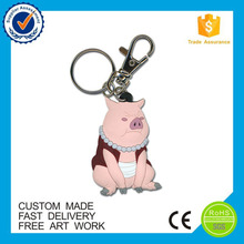 China supplier custom soft rubber pig design keychain
