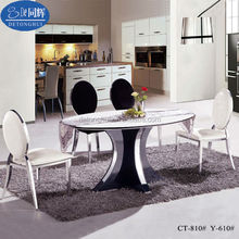 CT-810# Y-610# Oval Marble Stone Top Dining Table Black High Back Chair