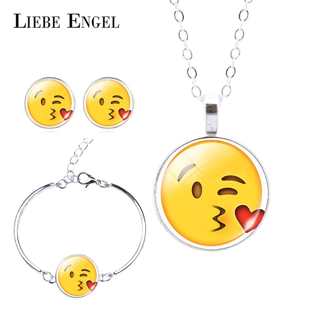 Fashion Jewelry Set Silver Plated with Cute Emoji Pattern Necklace Earring and Bangle Jewelry Set for Women Gift