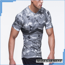 2017 New Design High Quality 160g 100% Polyester Custom O-Neck Short Sleeve Camo Print Under Amrour T Shirt
