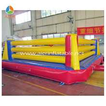 Adults playing inflatable wrestling ring