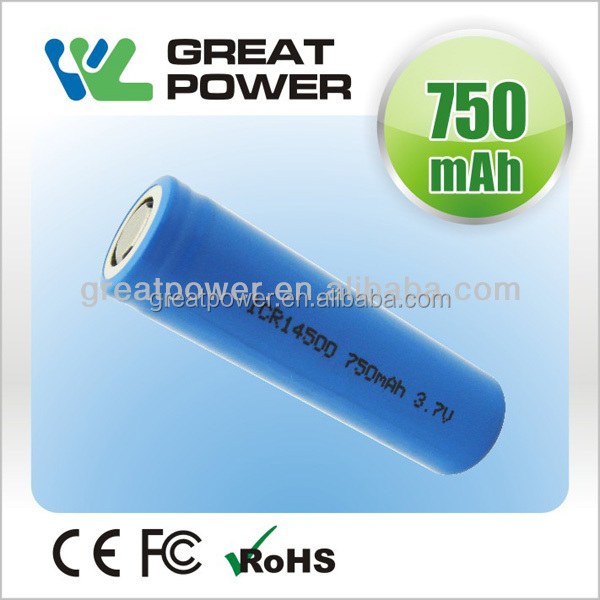 3.7v icr 14500 li-ion rechargeable battery lithium ion 3.7V