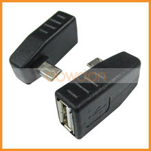 Female USB 2.0 Port to Right Angle Micro USB Cable Converter