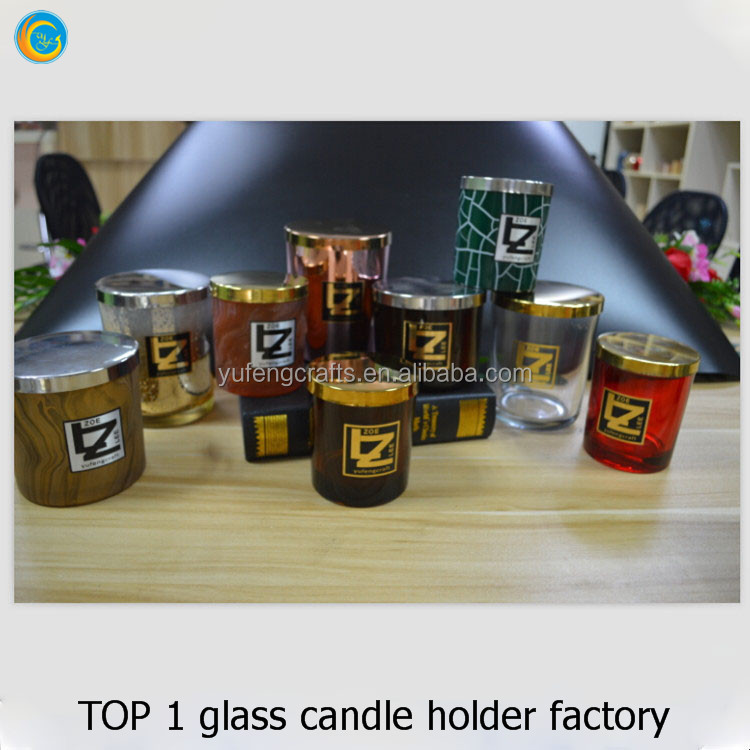 glass candle holders jars with gold metal lids yufeng
