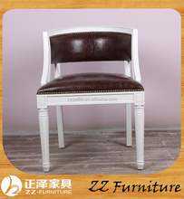 White Wooden Leather Louis Dining Chair for Retal