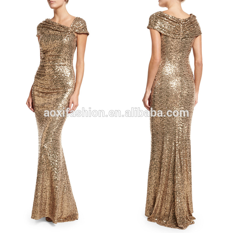 Latest design fish cut gown sexy long sequin prom evening dress women