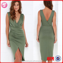 Green Sleeveless Sexy High-Low Wrap Dress , Sexy Pictur Women Without Dress