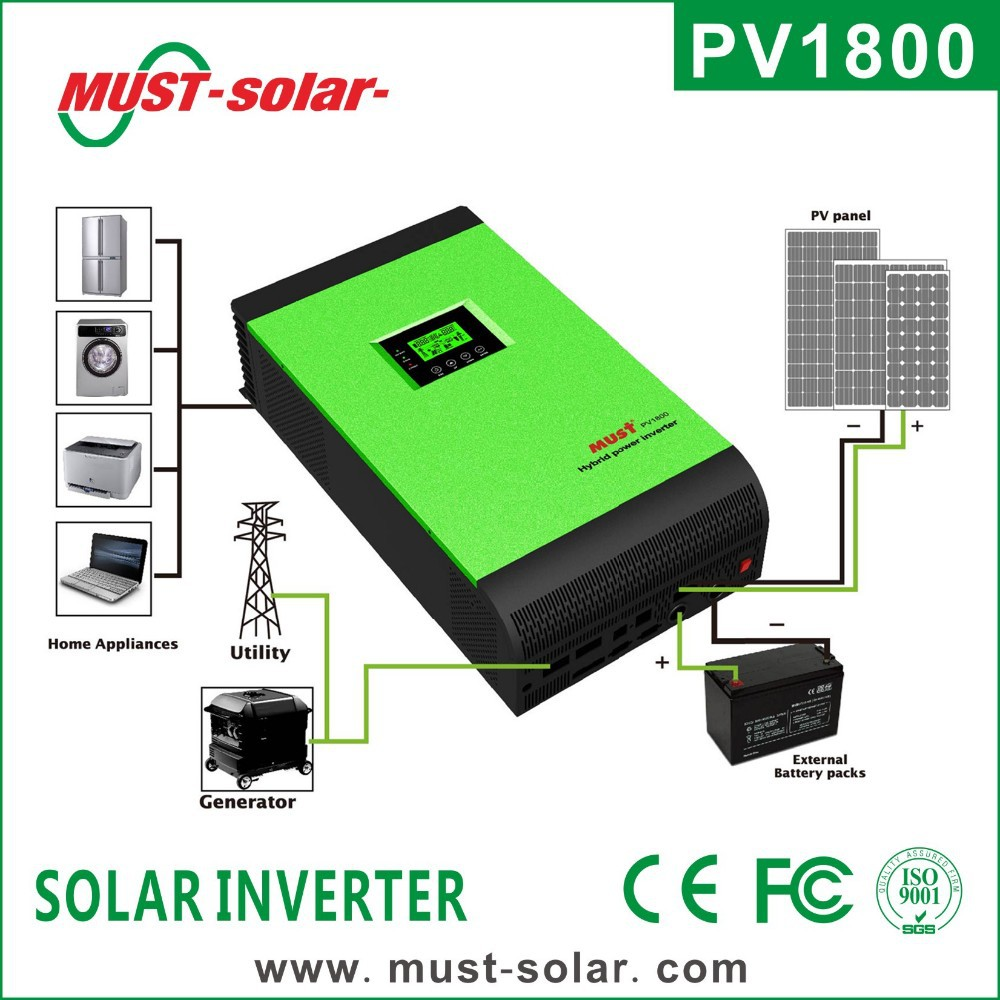 <Must Solar> PV1800 hybrid solar inverter with MPPT solar charge controller solar pv inverter price
