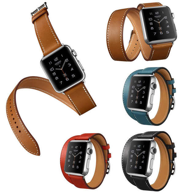 Luxury Extra Long Genuine Leather Band Double Tour Bracelet Leather Strap Watchband for Apple Watch 38mm 42mm In Stock