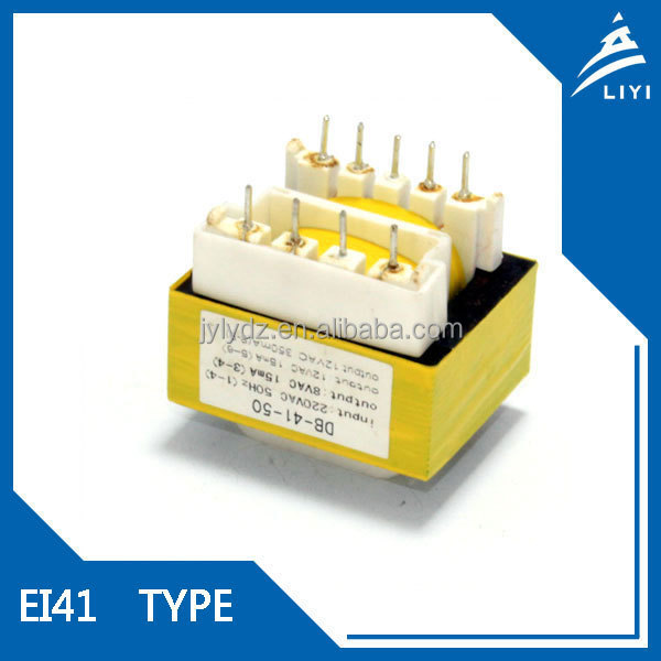 Pin type EI41 pcb mounting laminated core transformer jiangsu 220v 8v
