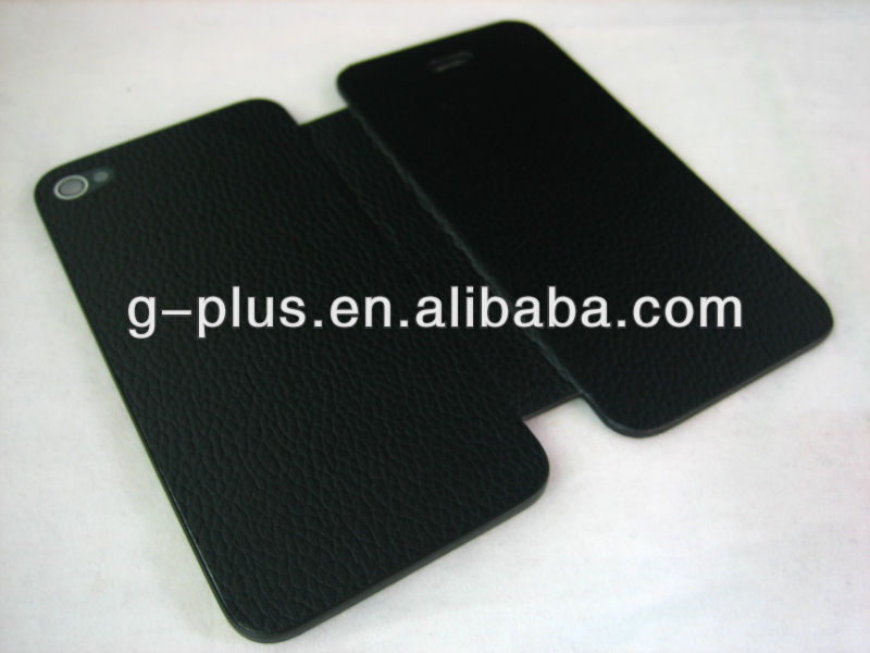Black Leather Flip Cover Carrying Case Pouch for iPhone 4 4G G (for international and US GSM AT&T version)