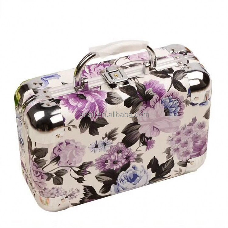Women Travel Cosmetic Cases Professional Aluminum makeup Cases Lipstick Makeup Organizer Storage Beauty comestic Case Box