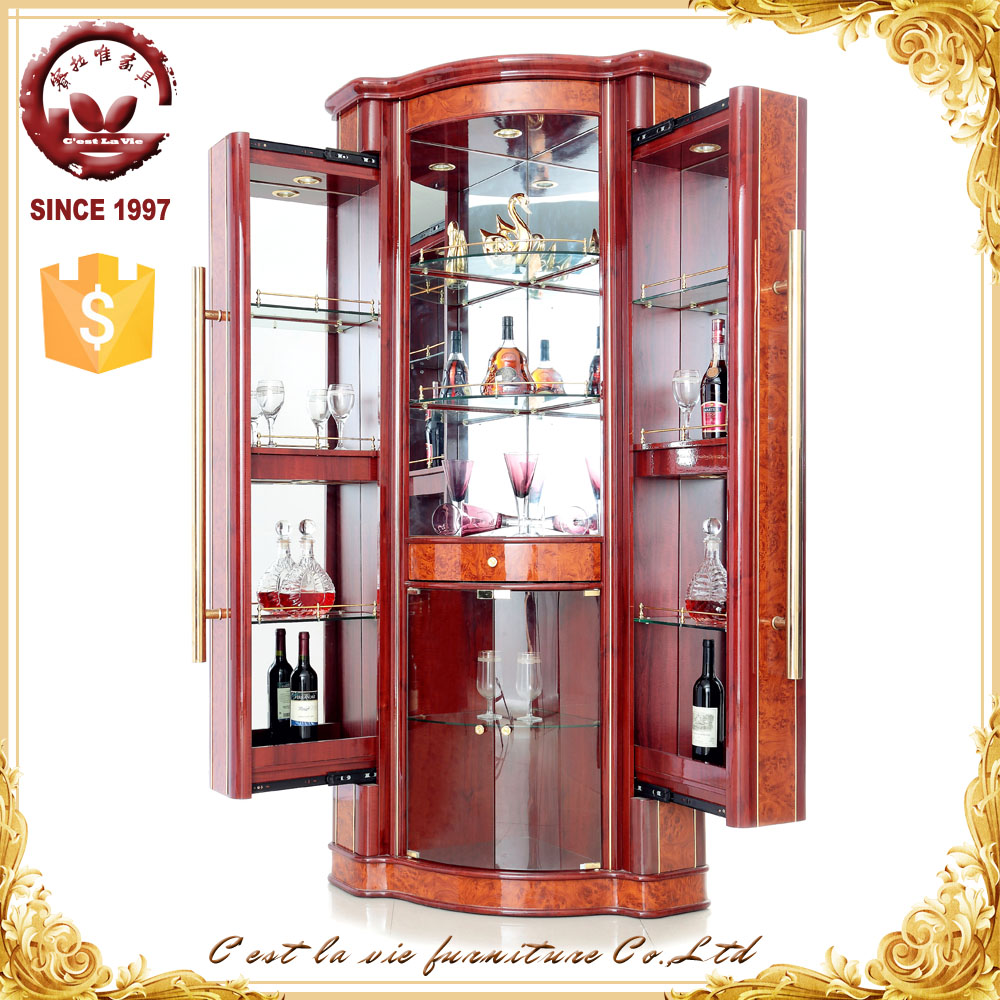 European Styles Cheap Price Maple Color Modern Design I Shape Wooden Home Wine Dispaly Cabinet