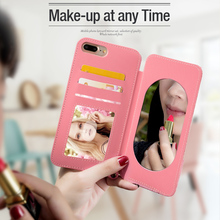 New Cosmetic Acrylic mirror phone case With Adjustable Lanyard Leather wallet make up Case for iPhone 6 6S Plus for car holder