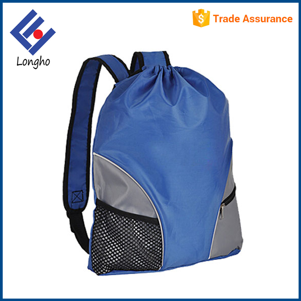Eco friendly travel shoulder cinch bag waterproof drawstring bag with mesh pocket
