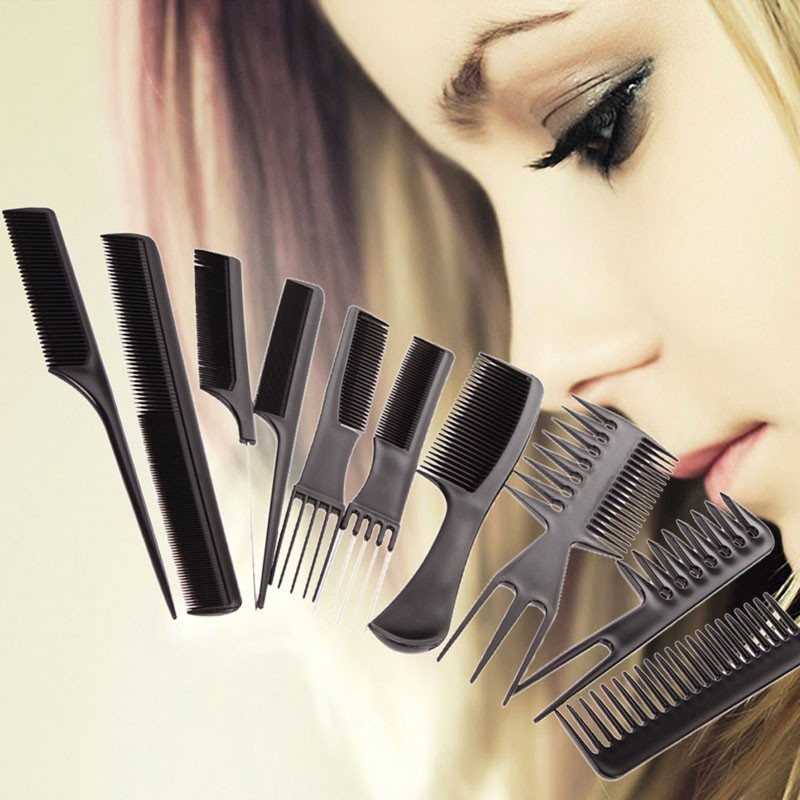 10Pcs Black Professional Salon Hair Styling Hairdressing Plastic Barbers Brush Combs