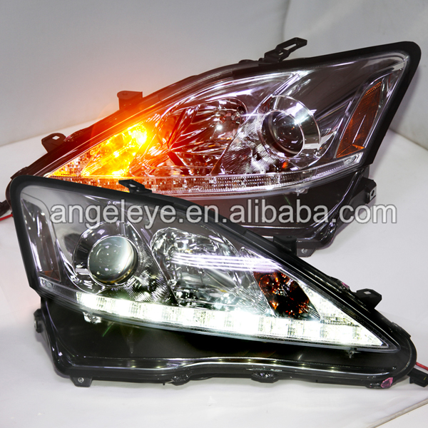 For Lexus IS250 IS300 IS350 LED Head Lamp Angel eyes 2006-2012 Year Silver Housing SN
