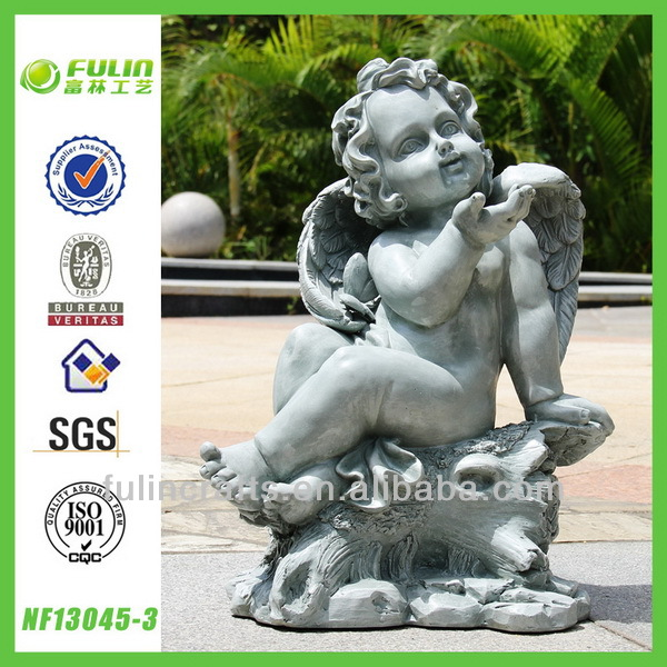 Angel Figurine Polyresin Statue Garden Decorative Resin Cupid Sitting