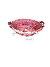handmade red wicker tray fruit willow basket with wooden handle