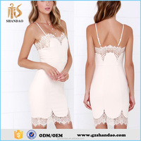 New fashion summer knee length spaghetti strap latest formal lace dress patterns