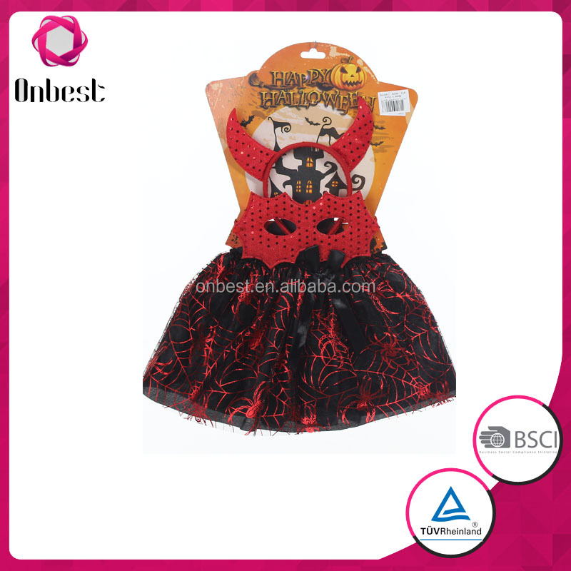 Bat halloween tutu dress costumes with red tiara and veil red bat mask for children