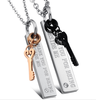 rectangular couples necklaces, magnetic diamond pendants with key(SWTJU101)