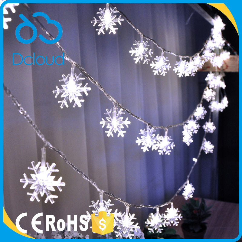 Dcloud 2017 CE ROHS Garden Christmas Tree Decoration wedding outdoor decoration snowflake led string lights