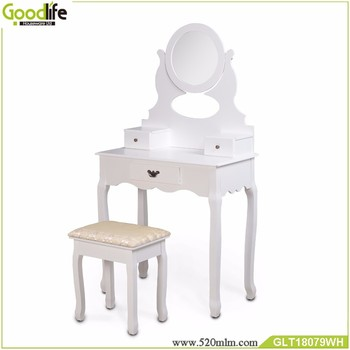 Goodlife hot selling dressing table wooden with mirror and stool