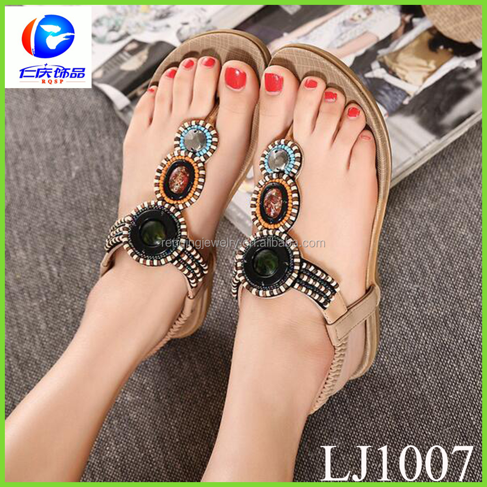 Summer Fashion Sandals Accessories Rome Beach Sandal Beaded Clip for Toe Flip Flops