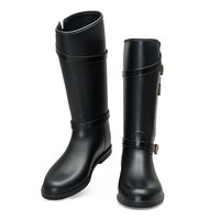 Luxury elegant design woman boots genuine black suede leather ankle boots safety high heel womens rain boots