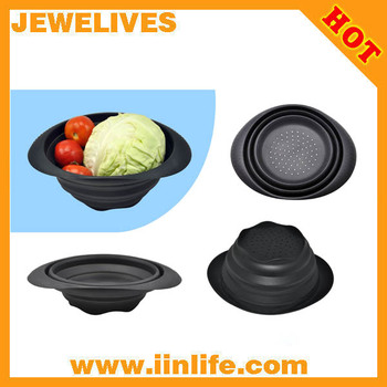 black silicone basket strainer for food cleaning