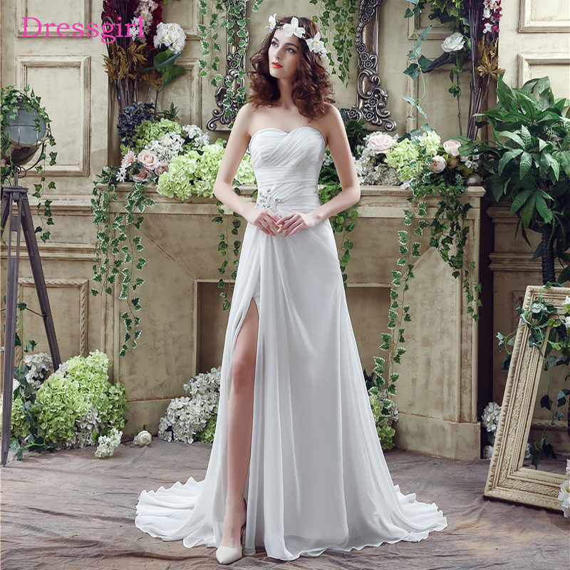 Cheap Vestido De Noiva 2019 Beach Wedding Dresses A Line Sweetheart Chiffon Pearls Slit Boho Wedding Gown Bridal Dresses In Wedding Dresses From Weddings Events On Aliexpress,Mermaid Most Popular Wedding Dresses