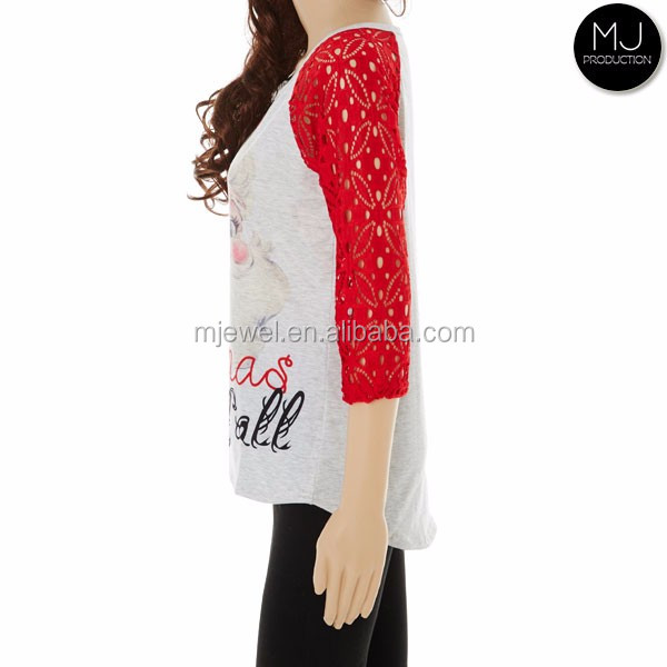 Factory wholesale lace sleeve raglan