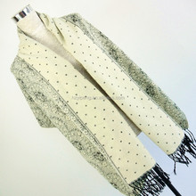 Black and white Fancy paisley design 65x180cm Kashmir blanket scarf jacquard shawl with cheap factory price