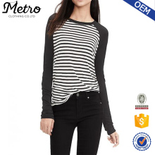 Wholesale Customized Women Long Sleeves Stripes Jersey Baseball Tee