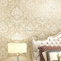 Royal flower embossing wall wallpaper decoration Eco-friendly non-woven 3D designs wallpaper