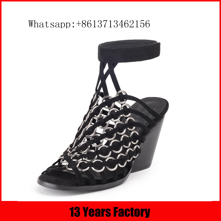 High quality wholeasle best price silver ornament woven upper stack heel 2016-17 leather ladies heel sexy ladies ankle sandal