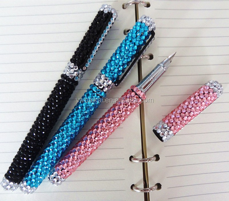 Colorful promotional best bling crystal metal ball pen
