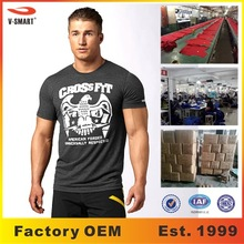 AT004 OEM Mens Fitness Custom Printed Gym Crossfit Tee Shirt Dry Fit (Color/Fabric/Logo Can be Custom)