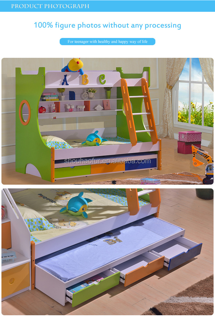 Professional manufacturer wood kids queen size bunk bed