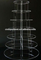 acrylic cake stand with various tiers