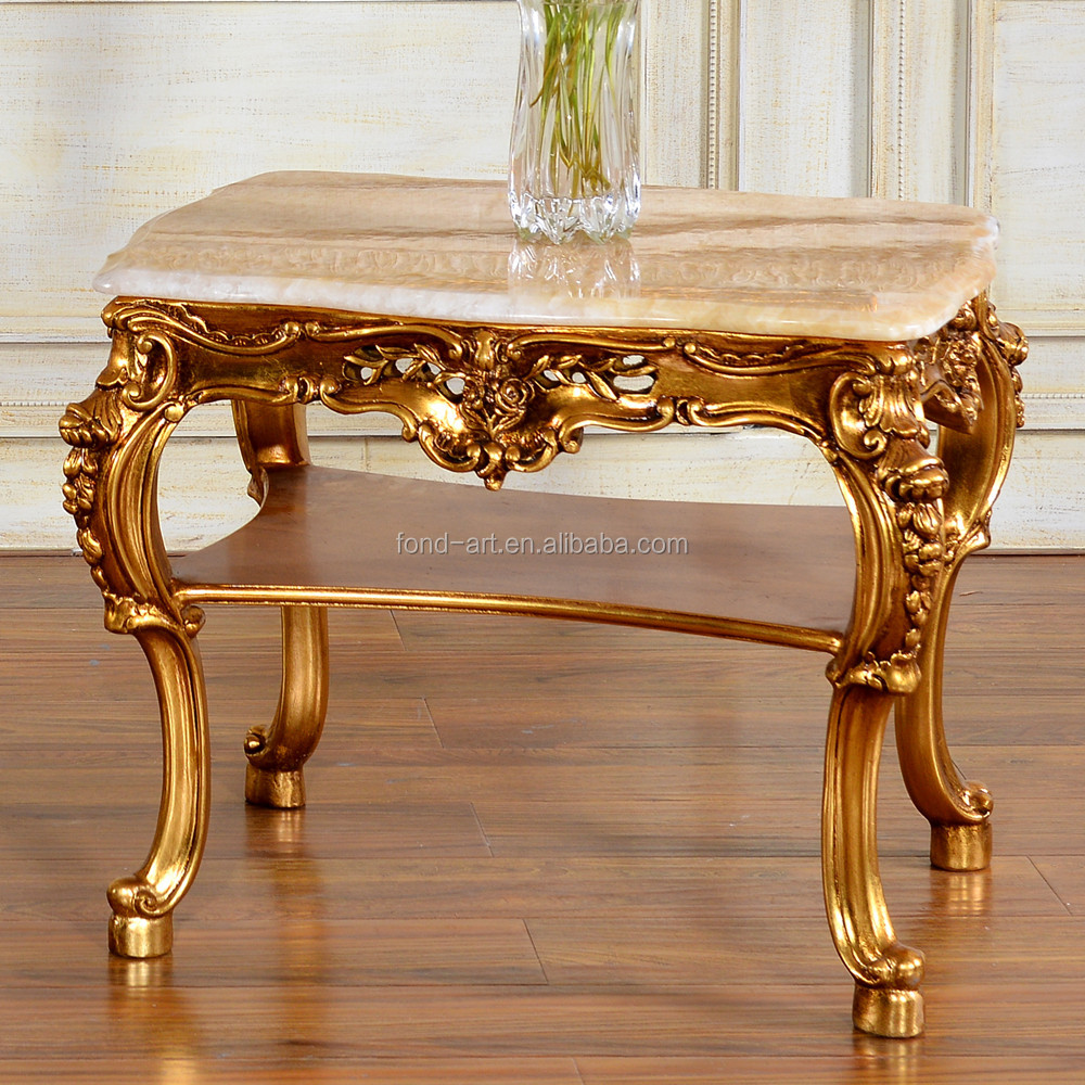 C60 antique french style double layer marble top coffee - Table basse gigogne vintage ...