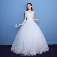 China Factory Direct Supply O-Neck Lace Appliqued Wedding Dress