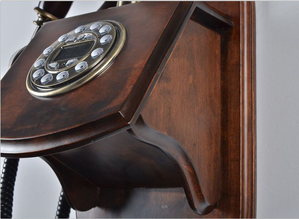 Antique Wooden Phone Home Decorative Wall Mounted Telephone Corded