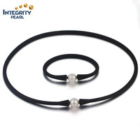 2016 new arrival fashion leather pearl set 10mm AAA round fresh water jewellery pearl set