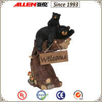 "23.8"" large climbing on stump black bear family with welcome sign, resin black bear with stump and welcome sign garden decor"