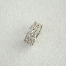 High quality mirco pave cz 925 silver ring in rhodium plated